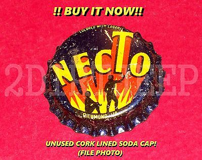NECTO COLA FLAVORED SODA MAN & WOMAN LOGO VINTAGE POP CORK UNUSED BOTTLE CAP 30d