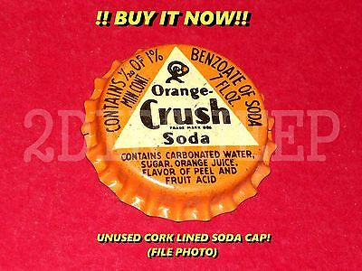 "ORANGE CRUSH ""CRUSHY"" GUY LOGO SODA VINTAGE POP DRINK CORK UNUSED BOTTLE CAP 30d"