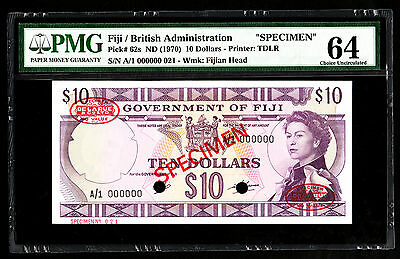 Fiji $10 ND 1970 SPECIMEN Note P. 62 - 62s PMG 64 Choice UNC QEII SCARCE