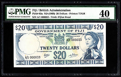 Fiji $20 ND 1968 P. 63a 1st Prefix A/1 Low Number #33 PMG 40 EF Scarce Note