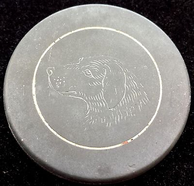 Great Lot of 5 Labrador Retriever Dog Antique Vintage Engraved Clay Poker Chips