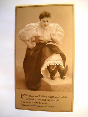 WOONSOCKET RUBBERS 1896 Victorian TRADE CARD 2 TONE CHROMO woman looks at shoes