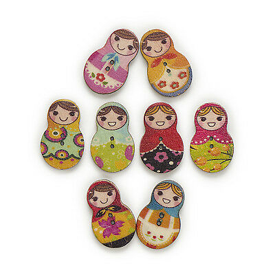 50pcs Mixed Nesting Girl Wood Buttons Clothing Decor Sewing Scrapbooking 30x19mm