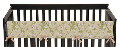 Jojo Annabel Floral Peach Front Rail Guard Crib Cover Baby Teething Protector
