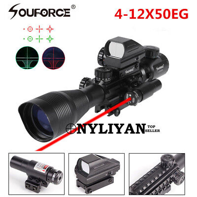 4-12X50EG Tactical Rifle Scope w/ Holographic 4 Reticle Sight & Red Laser JG8