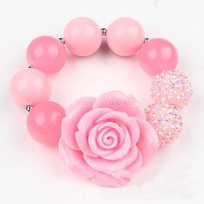 Baby Princess Pink Round Beads Bracelet Children Wrist Bangle Party Jewelry Gift