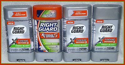 4 RIGHT GUARD XTREME DEFENSE 5 FRESH BLAST GEL 72 Hr Antiperspirant Deodorant 4z