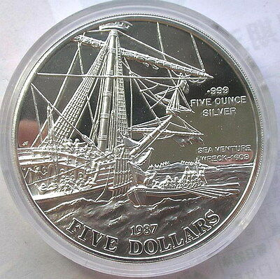Bermuda 1987 Sea Venture Wreck 5 Dollars 5oz Silver Coin,Proof