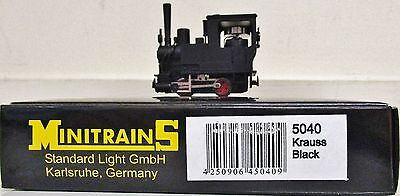 Minitrains 5040 - Krauss Locomotive unlettered Black. (009/HOe Narrow Gauge)