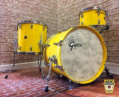 Gretsch USA BroadKaster Drum Kit: Gloss Solid Yellow Down Beat 3pc (12/14/20)