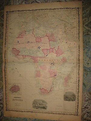 Huge Gorgeous Antique 1862 Africa Johnson Handcolored Map Maritime Art Vignette