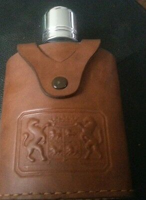 """Vintage Irvinware Glass LIQOUR Flask Leather Made In USA Astoria Ny 6"""""""