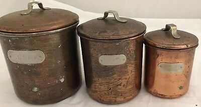 Vintage Copper and Brass Label Nesting Canister Set of 3  Sugar Coffee Tea