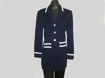 Vintage 80s Navy Blue St. John Collections Marie Gray Jacket Size 6 Nice