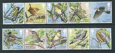 Great Britain 2017 Songbirds Set Of 10 In 2 Strips Fine Used