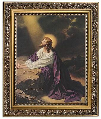 JESUS PRAYING AT Gethsemane Image In Ornate Frame With Glass print 8 x10