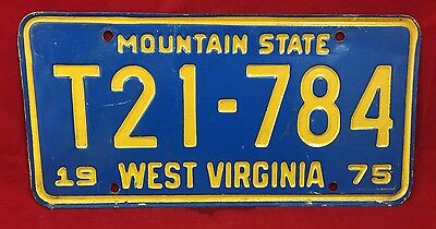 1975 West Virginia Mountain State Trailer License Plate Tag T21-784