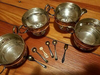 4 pieces Sterling Silver Creamers, sugars, salt spoons; FREE PRIORITY SHIPPING!