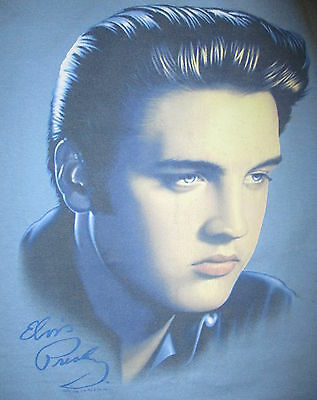 ELVIS PRESLEY T SHIRT Young Handsome Greaser Hair King Of Rock N Roll Blue Large