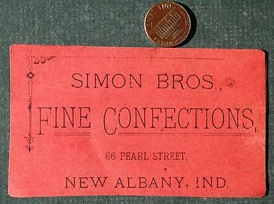 1890-1900s Era New Albany,Indiana Simon Brothers Confections Store Business Card