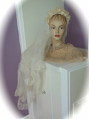 Stunning Antique 1920s 2-Tier Chantilly Lace Floral BRIDAL Veil Fabulous FLOWERS
