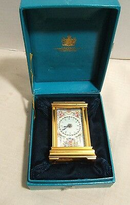 Bilston & Battersea Carriage Clock Enameled Floral Vintage In Box Working