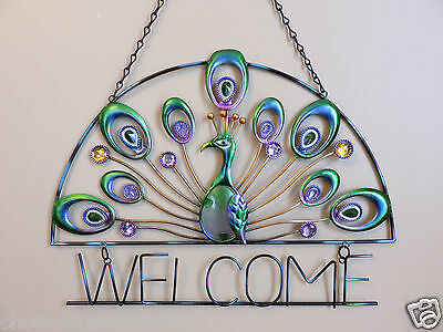 Peacock Design Colored Glass & Cut-Out Iron Welcome Wall Plaque  16x12 in. new