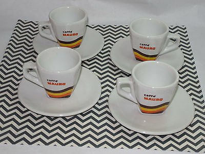 4 Mauro Coffee Espresso Cups & Saucers! Colorful Logo! Porcelain! Made In Italy!