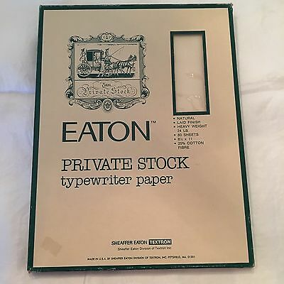 Eaton Private Stock typewriter paper Natural Laid Finish 24lb 25% Cotton Fibre