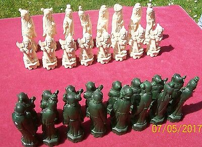 Vintage Large Chinese Style Chess Set - Boxed