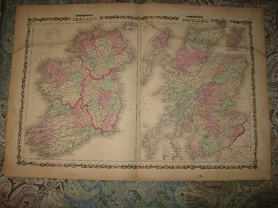 Large Gorgeous Antique 1862 Ireland Scotland Johnson Handcolored Map Rare Nr