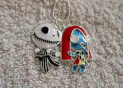 A NIGHTMARE BEFORE CHRISTMAS Inspired JACK & SALLY Large Charm NECKLACE