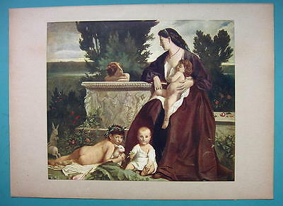 YOUNG MOTHER Children Breastfeeding by A. Feuerbach - 1911 COLOR Antique Print