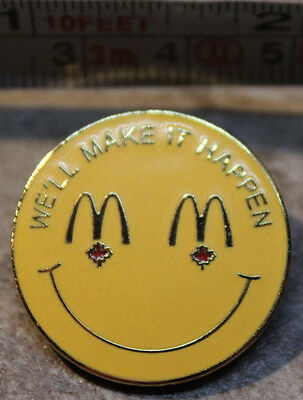 McDonalds We'll Make It Happen Smiley Employee Collectible Pinback Pin Button