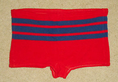 Vtg 60s SEARS Ban-Lon Swim Suit BRIEFS * RED * Shorty Shorts Trunks USA Mens M/L