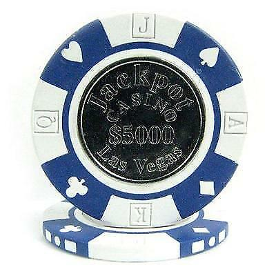 Trademark Poker Jackpot Coin-Inlaid Poker Chips (Set of 50), 12.2gm New