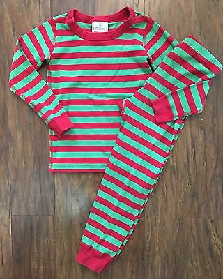 Hanna Andersson 110 Cm 5 Yrs Red Green Stripe Christmas Pajamas Boy Girl Organic