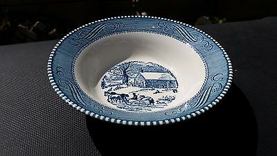 Royal China Blue Currier and Ives American Homestead Rim Cereal Bowl School 6¼""