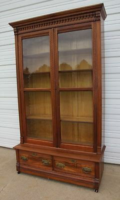 Antique Victorian Burled Walnut 2 Door 2 Drawer Step Back Bookcase Showcase OLD