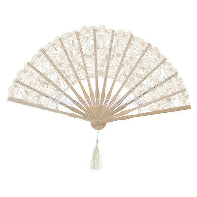 Vintage Battenburg Lace Wood Cotton Folding Hand Fan for Wedding Photo Decor NEW