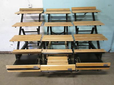"Lot Of 3 ""cms"" Commercial Mobile Wooden Bakery/produce Display Merchandiser Rack"