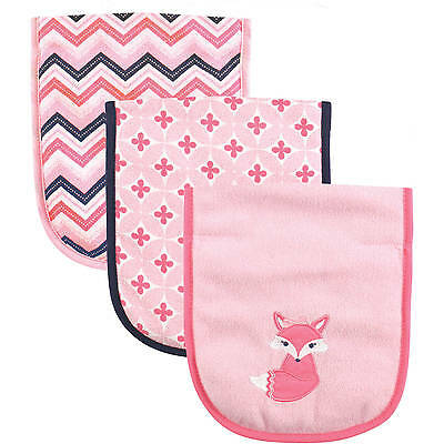 Luvable Friends 3 Pack Baby Girls Terry Burp Cloth Set Pink Fox New