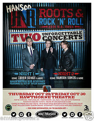 "HANSON ""ROOTS & ROCK 'N' ROLL TOUR"" 2015 PORTLAND CONCERT POSTER- Pop Rock Music"