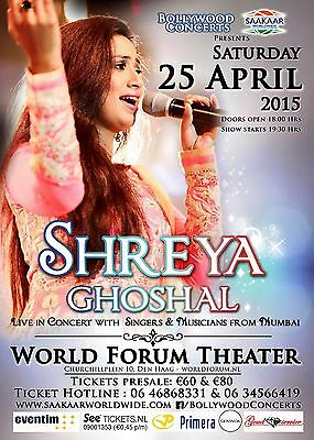 """SHREYA GHOSHAL """"LIVE IN CONCERT"""" 2015 HOLLAND TOUR POSTER-Filmi Music, Bollywood"""