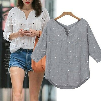 Women's Cotton Star Pattern Medium Sleeve V Neck Loose Blouse Tops T-Shirt  S-XL