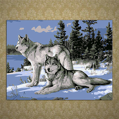 Wolves Oil Painting By Numbers Acrylic Drawing On Canvas DIY Home Office Decor