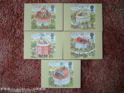 PHQ Stamp card set No 172 Shakespeare's Globe 1995. 5 card set.  Mint Condition.