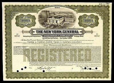 Stock Certificate New York Central Railroad Co 4 1/2% $1000 Mortgage Bond 1913