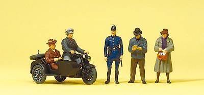 Preiser 10565 Motorcycle Zündapp KS 750 with sidecar. Passers-by. Early epoch II