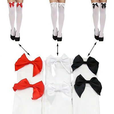 A Pair Ladies Over The Knee Hold Up Stockings + Bows Thigh High Socks Party Uk